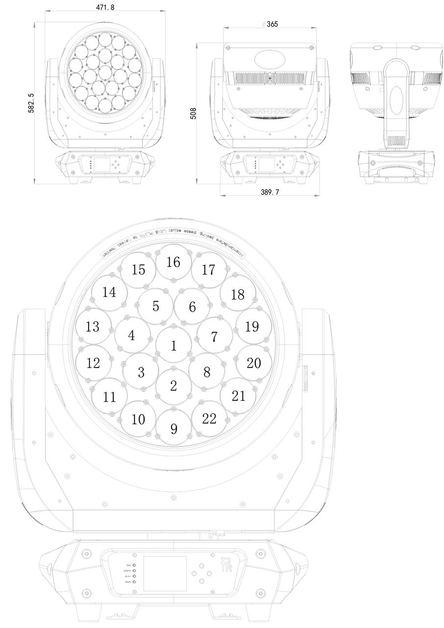 Габаритные размеры светодиодной головы PR Lighting XLED 4022RZ